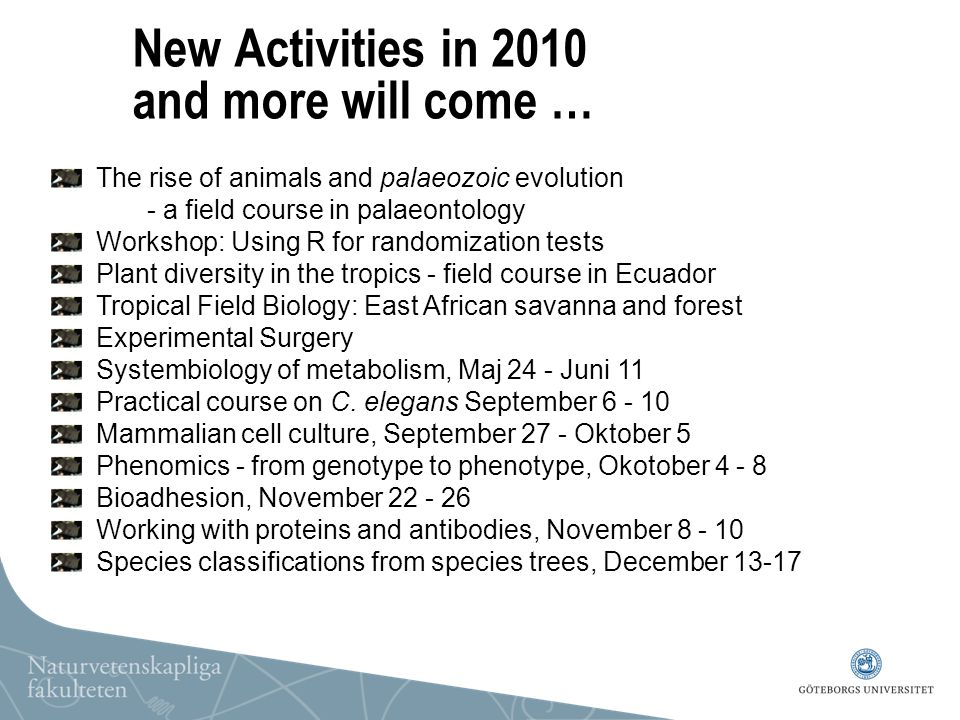 New Activities in 2010 and more will come … The rise of animals and palaeozoic evolution - a field course in palaeontology Workshop: Using R for rando
