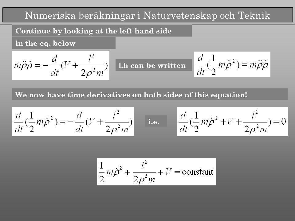 Numeriska beräkningar i Naturvetenskap och Teknik in the eq.
