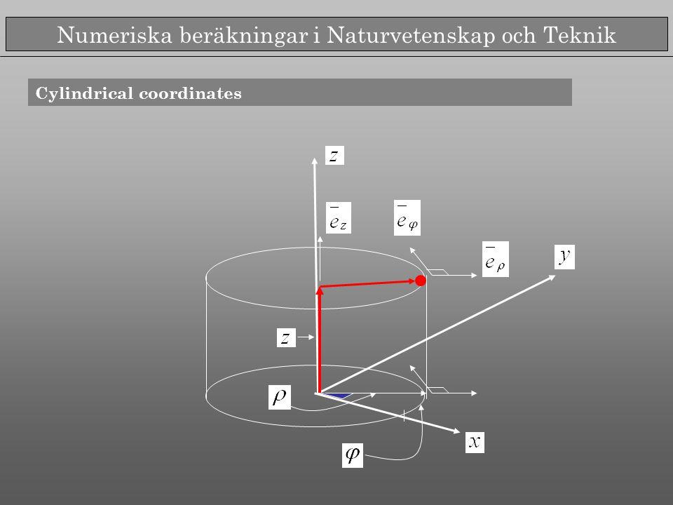 Numeriska beräkningar i Naturvetenskap och Teknik Cylindrical coordinates