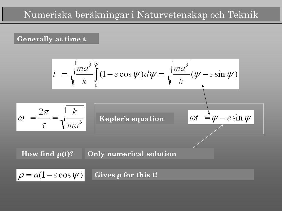 Numeriska beräkningar i Naturvetenskap och Teknik Kepler's equation How find ρ(t)?Only numerical solution Gives ρ for this t.
