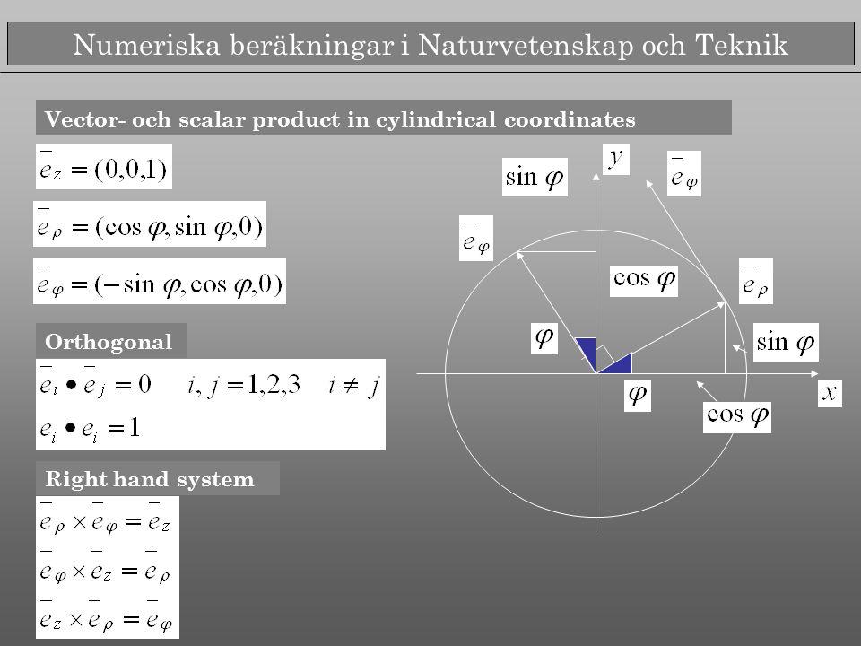 Numeriska beräkningar i Naturvetenskap och Teknik Vector- och scalar product in cylindrical coordinates Orthogonal Right hand system