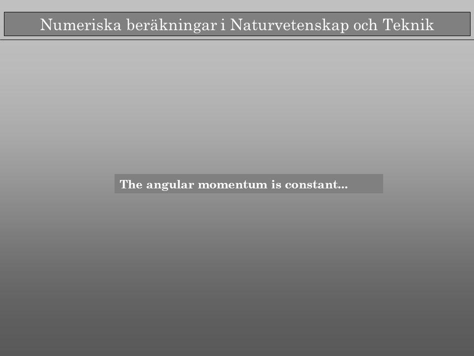 Numeriska beräkningar i Naturvetenskap och Teknik The angular momentum is constant...