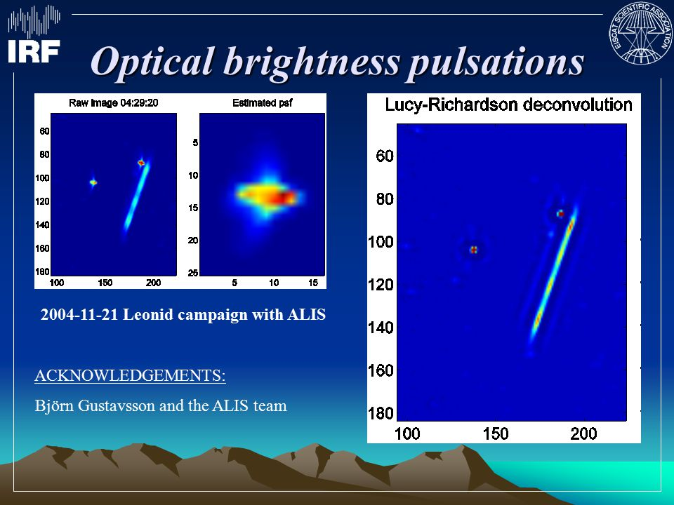 Optical brightness pulsations 2004-11-21 Leonid campaign with ALIS ACKNOWLEDGEMENTS: Björn Gustavsson and the ALIS team