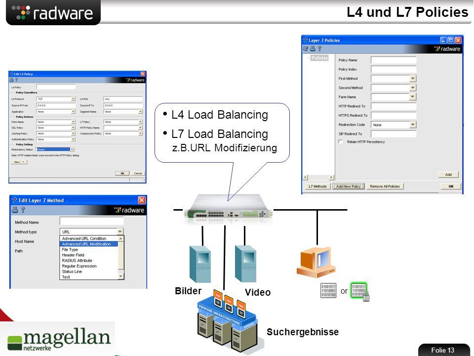 L4 und L7 Policies or Folie 13 L4 Load Balancing L7 Load Balancing z.B.URL Modifizierung Bilder Video Suchergebnisse