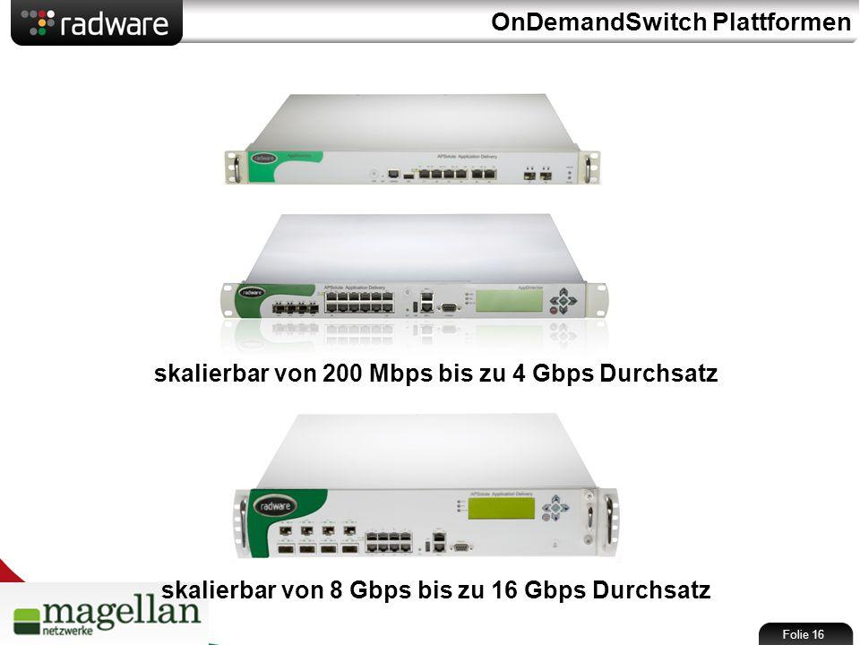 OnDemandSwitch Plattformen skalierbar von 200 Mbps bis zu 4 Gbps Durchsatz skalierbar von 8 Gbps bis zu 16 Gbps Durchsatz Folie 16