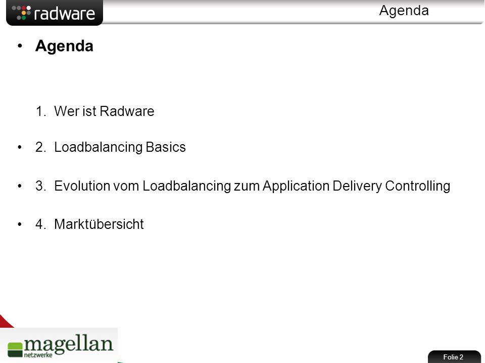 Agenda Agenda 1. Wer ist Radware 2. Loadbalancing Basics 3.