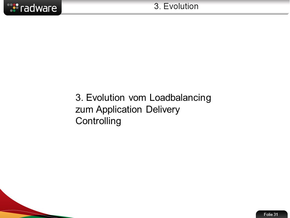 3. Evolution Folie 31 3. Evolution vom Loadbalancing zum Application Delivery Controlling