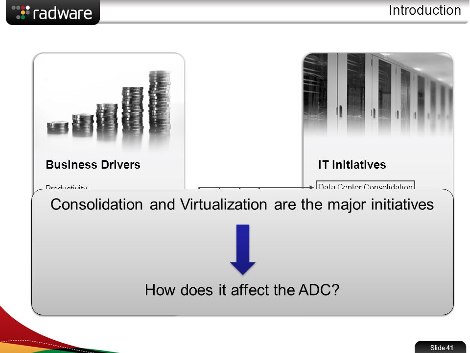 Slide 41 Introduction IT Initiatives Data Center Consolidation Security Service Oriented Architecture Convergence Data Center Virtualization Cloud Computing Green IT Real-Time Enterprise Business Drivers Productivity Cost Reduction Business Agility Business Continuity Globalization Regulatory Compliance Consolidation and Virtualization are the major initiatives How does it affect the ADC