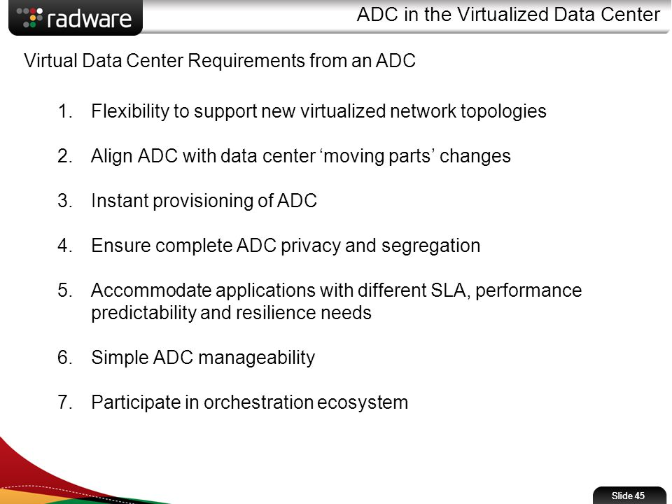 ADC in the Virtualized Data Center Slide 45 Virtual Data Center Requirements from an ADC 1.Flexibility to support new virtualized network topologies 2.Align ADC with data center 'moving parts' changes 3.Instant provisioning of ADC 4.Ensure complete ADC privacy and segregation 5.Accommodate applications with different SLA, performance predictability and resilience needs 6.Simple ADC manageability 7.Participate in orchestration ecosystem