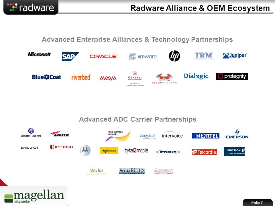 Radware Alliance & OEM Ecosystem Advanced ADC Carrier Partnerships Advanced Enterprise Alliances & Technology Partnerships Folie 7