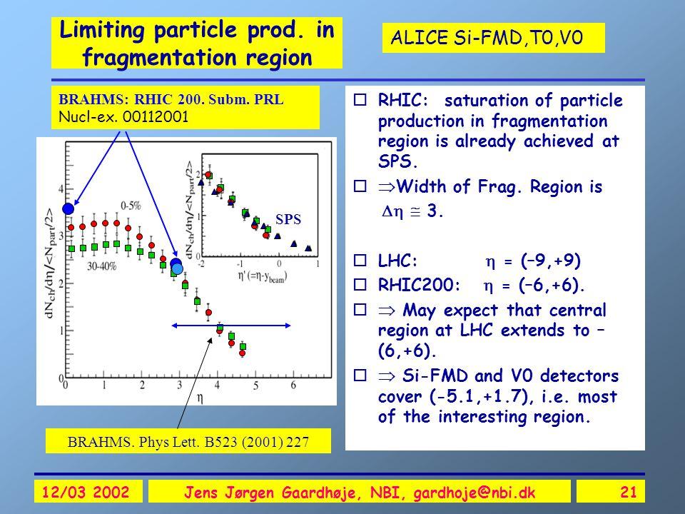 ALICE Si-FMD,T0,V0 12/03 2002Jens Jørgen Gaardhøje, NBI, gardhoje@nbi.dk21 Limiting particle prod. in fragmentation region oRHIC: saturation of partic