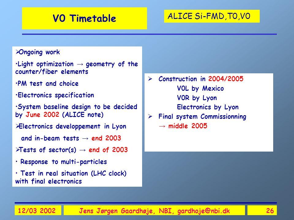ALICE Si-FMD,T0,V0 12/03 2002Jens Jørgen Gaardhøje, NBI, gardhoje@nbi.dk26 V0 Timetable  Construction in 2004/2005 V0L by Mexico V0R by Lyon Electron