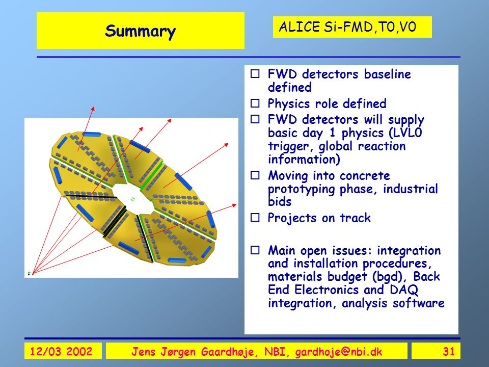 ALICE Si-FMD,T0,V0 12/03 2002Jens Jørgen Gaardhøje, NBI, gardhoje@nbi.dk31 Summary oFWD detectors baseline defined oPhysics role defined oFWD detector