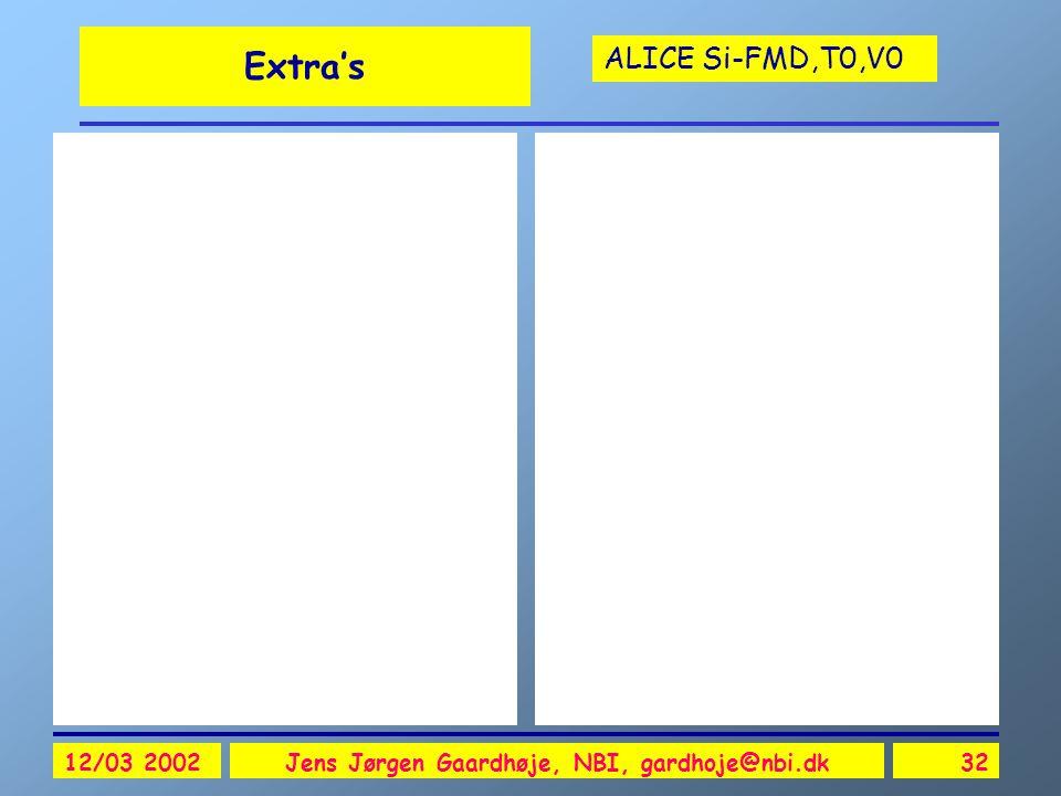 ALICE Si-FMD,T0,V0 12/03 2002Jens Jørgen Gaardhøje, NBI, gardhoje@nbi.dk32 Extra's