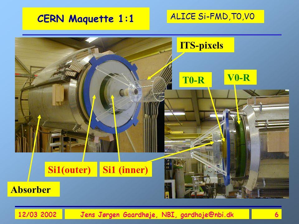 ALICE Si-FMD,T0,V0 12/03 2002Jens Jørgen Gaardhøje, NBI, gardhoje@nbi.dk27 T0 Beam-Beam counter oPrecise event timing (  =50ps) oStart detector for ALICE- TOF oMain LVL0 event trigger oPre-trigger for TRD oRough on-line vertex determination <1.5 cm oBeam-gas suppression oOutput Signals: oT0 = (t r +t l )/2+t d oT0v = t r -t l oT0-L, T0-R, Coinc oTime and energies o3 levels of sum energy (low, medium, high)