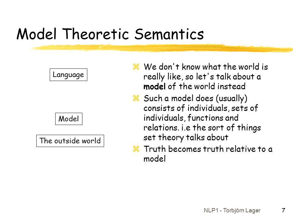 NLP1 - Torbjörn Lager 8 An Example Model zA simple model M: yDomain: x{Socrates, Aristotle, Plato, Mozart, Beethoven, Tolstoy} yInterpretation: xF(s) = SocratesF(m) = Mozart xF(a) = AristotleF(b) = Beethoven xF(p) = PlatoF(t) = Tolstoy xF(H) = {Socrates, Aristotle, Plato} xF(M) = {Socrates, Aristotle, Plato, Mozart, Beethoven, Tolstoy} xF(L) = {,,,,,, }