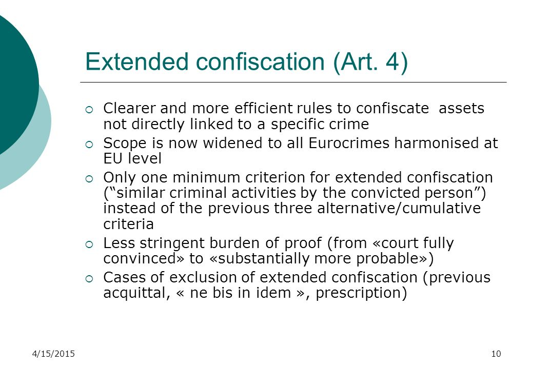 4/15/201510 Extended confiscation (Art.