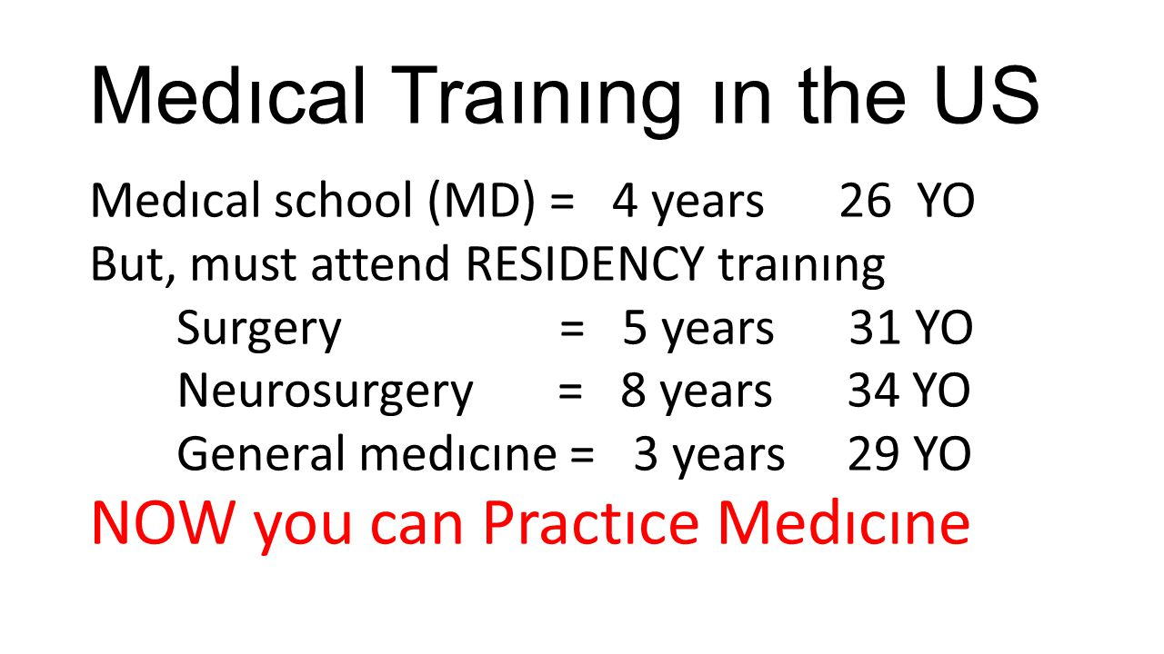 Medıcal Traınıng ın the US Medıcal school (MD) = 4 years 26 YO But, must attend RESIDENCY traınıng Surgery = 5 years 31 YO Neurosurgery = 8 years 34 Y