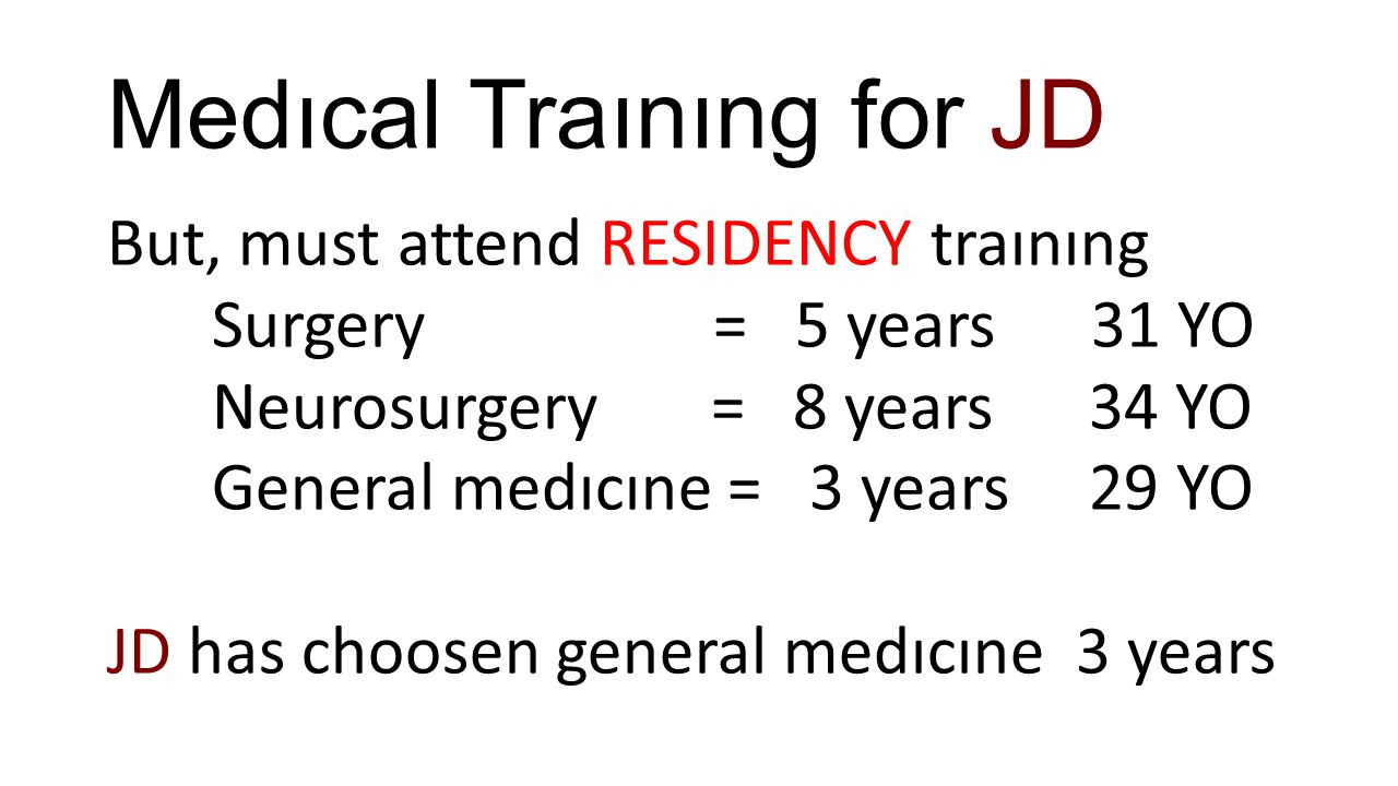 Medıcal Traınıng for JD But, must attend RESIDENCY traınıng Surgery = 5 years 31 YO Neurosurgery = 8 years 34 YO General medıcıne = 3 years 29 YO JD h