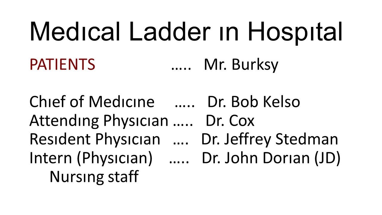 Medıcal Ladder ın Hospıtal PATIENTS …..Mr. Burksy Chıef of Medıcıne …..