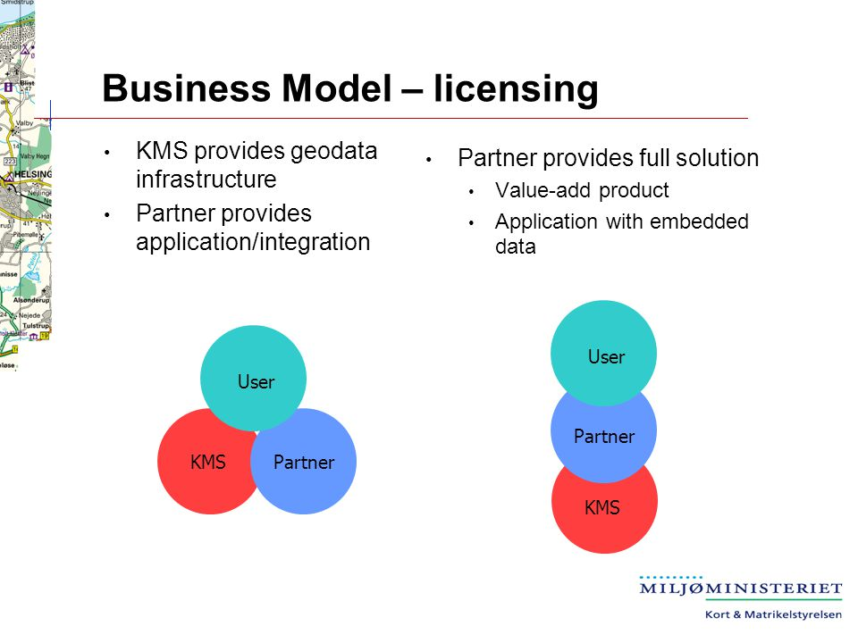 Business Model – licensing Partner provides full solution Value-add product Application with embedded data KMS provides geodata infrastructure Partner provides application/integration Partner User KMS Partner User KMS