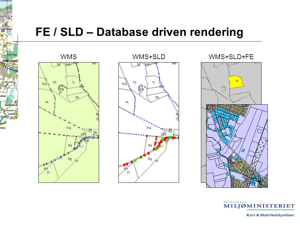 FE / SLD – Database driven rendering WMS+SLDWMSWMS+SLD+FE