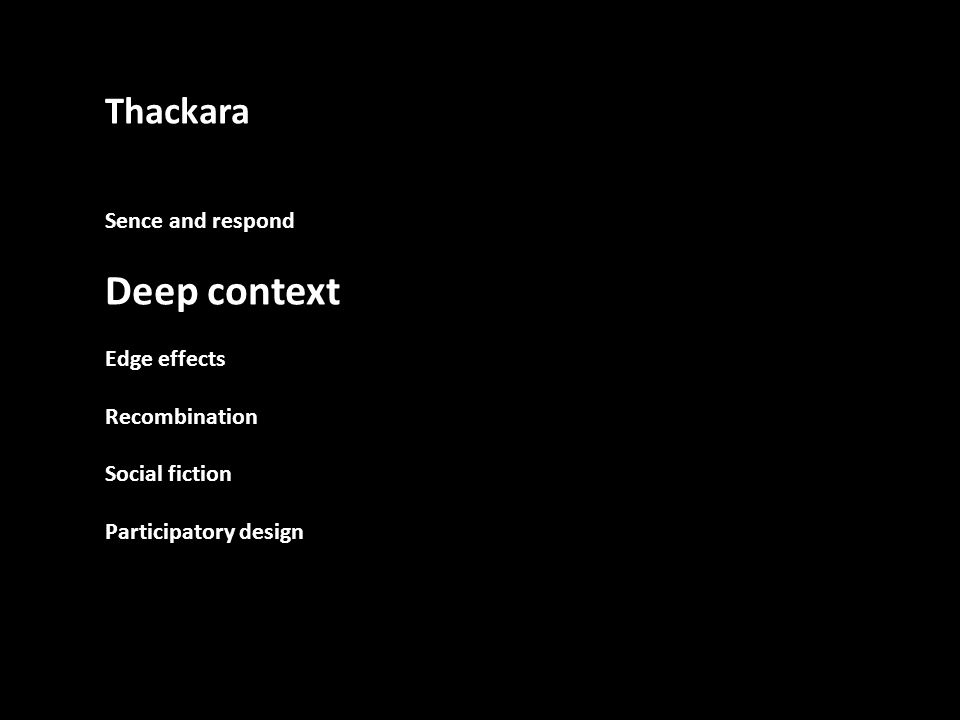 Thackara Sence and respond Deep context Edge effects Recombination Social fiction Participatory design