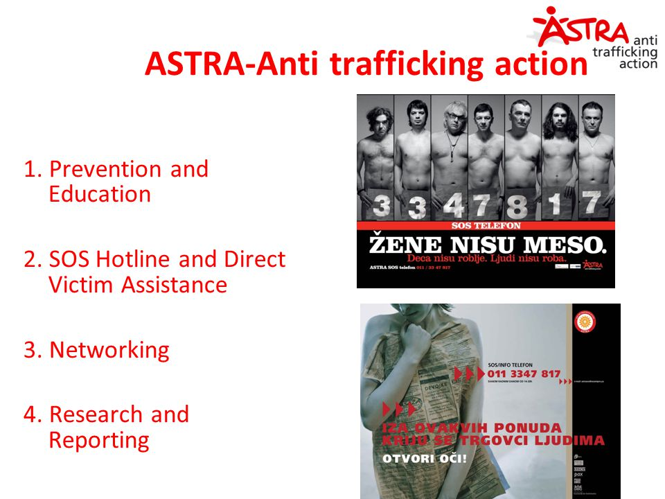 ASTRA-Anti trafficking action 1. Prevention and Education 2. SOS Hotline and Direct Victim Assistance 3. Networking 4. Research and Reporting