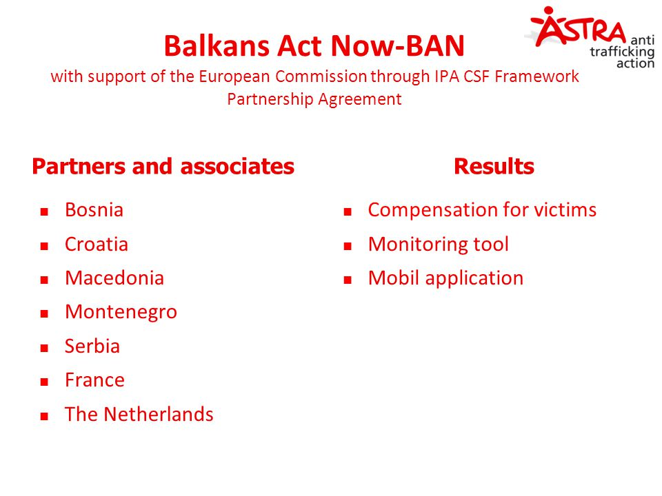 Balkans Act Now-BAN with support of the European Commission through IPA CSF Framework Partnership Agreement Partners and associates Bosnia Croatia Mac