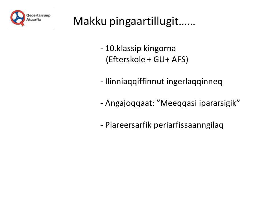 """Makku pingaartillugit…… - 10.klassip kingorna (Efterskole + GU+ AFS) - Ilinniaqqiffinnut ingerlaqqinneq - Angajoqqaat: """"Meeqqasi ipararsigik"""" - Piaree"""