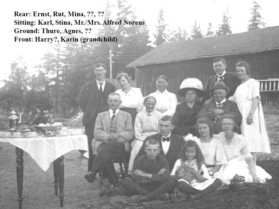 Rear: Ernst, Rut, Mina, , . Sitting: Karl, Stina, Mr./Mrs.