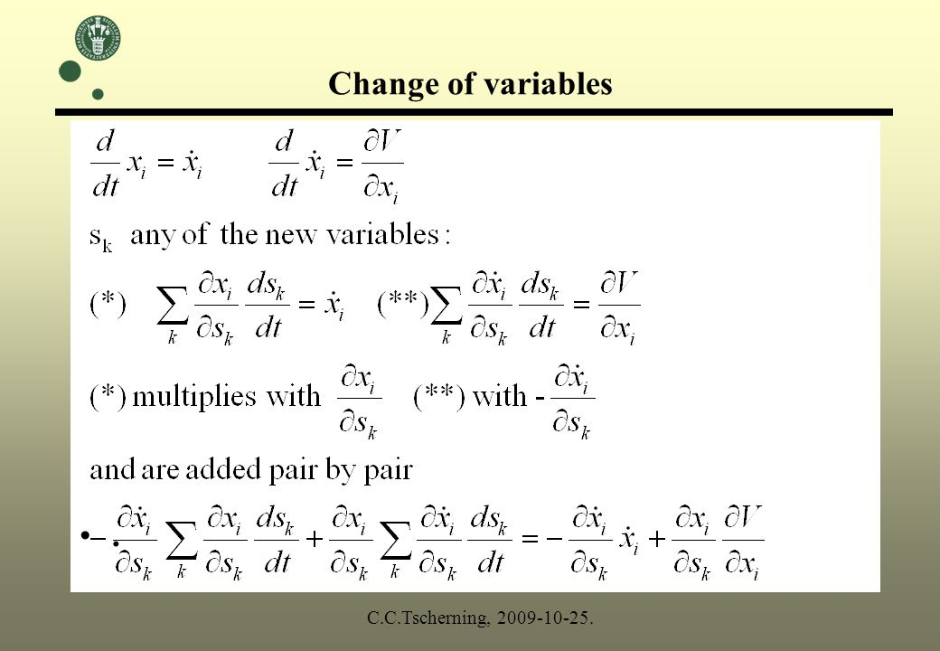 Change of variables. C.C.Tscherning, 2009-10-25.
