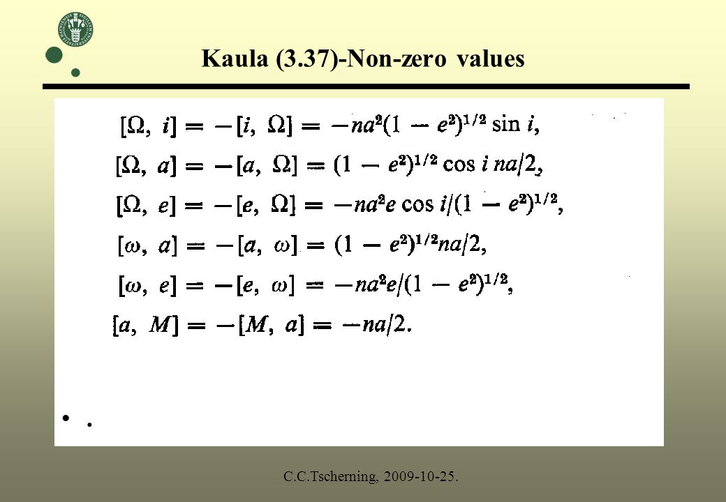 Kaula (3.37)-Non-zero values. C.C.Tscherning, 2009-10-25.