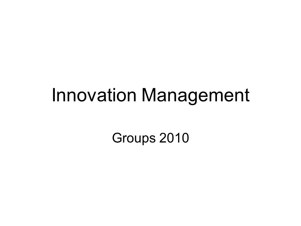 Innovation Management Groups 2010