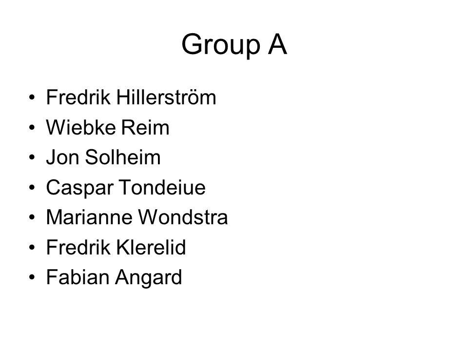 Group A Fredrik Hillerström Wiebke Reim Jon Solheim Caspar Tondeiue Marianne Wondstra Fredrik Klerelid Fabian Angard