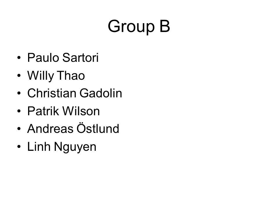Group B Paulo Sartori Willy Thao Christian Gadolin Patrik Wilson Andreas Östlund Linh Nguyen