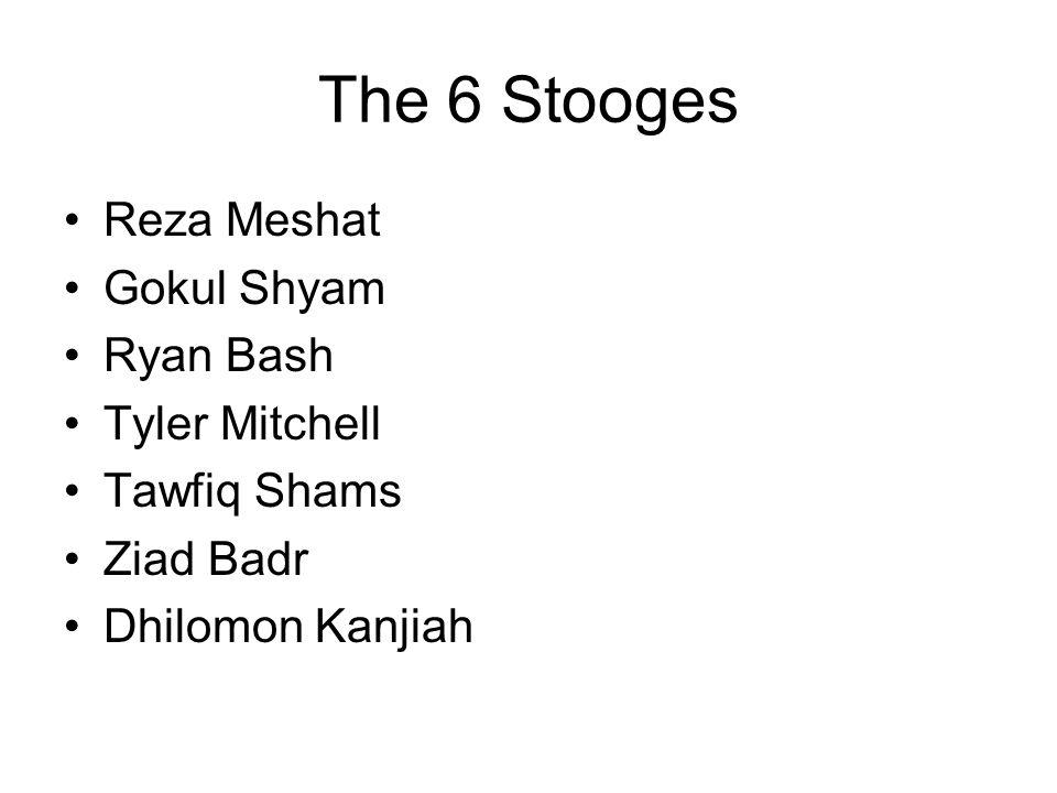 The 6 Stooges Reza Meshat Gokul Shyam Ryan Bash Tyler Mitchell Tawfiq Shams Ziad Badr Dhilomon Kanjiah