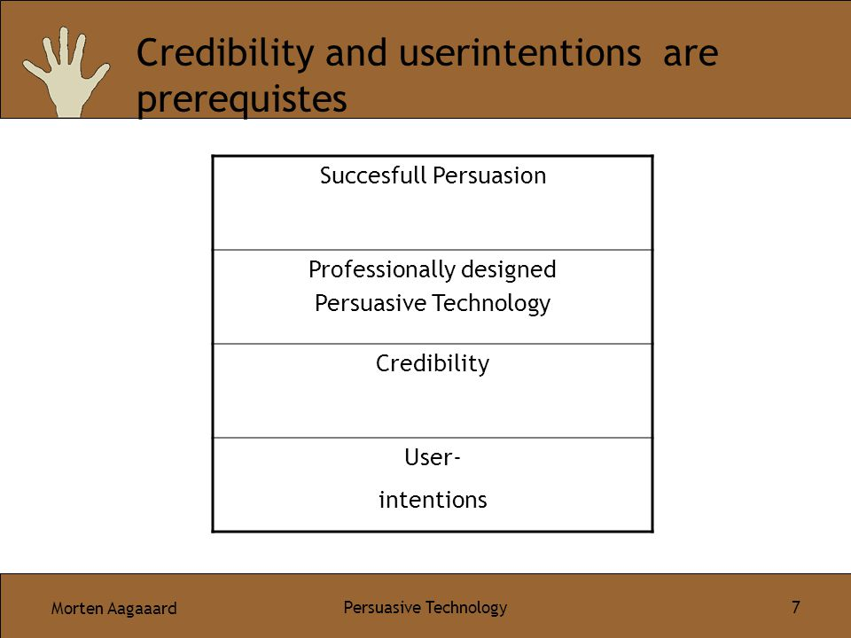 Morten Aagaaard Persuasive Technology 7 Credibility and userintentions are prerequistes Succesfull Persuasion Professionally designed Persuasive Technology Credibility User- intentions