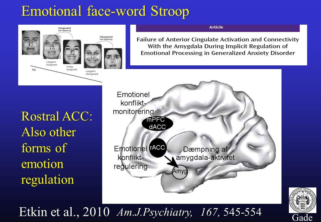 38 Gade Emotional face-word Stroop Etkin et al., 2010 Rostral ACC: Also other forms of emotion regulation Am.J.Psychiatry, 167, 545-554