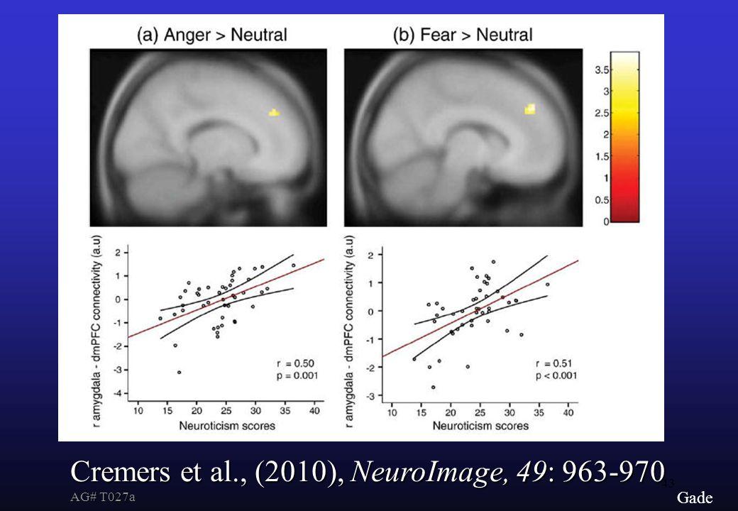 43 Gade Cremers et al., (2010), NeuroImage, 49: 963-970 AG# T027a
