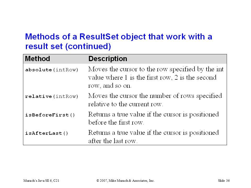Murach's Java SE 6, C21© 2007, Mike Murach & Associates, Inc.Slide 36