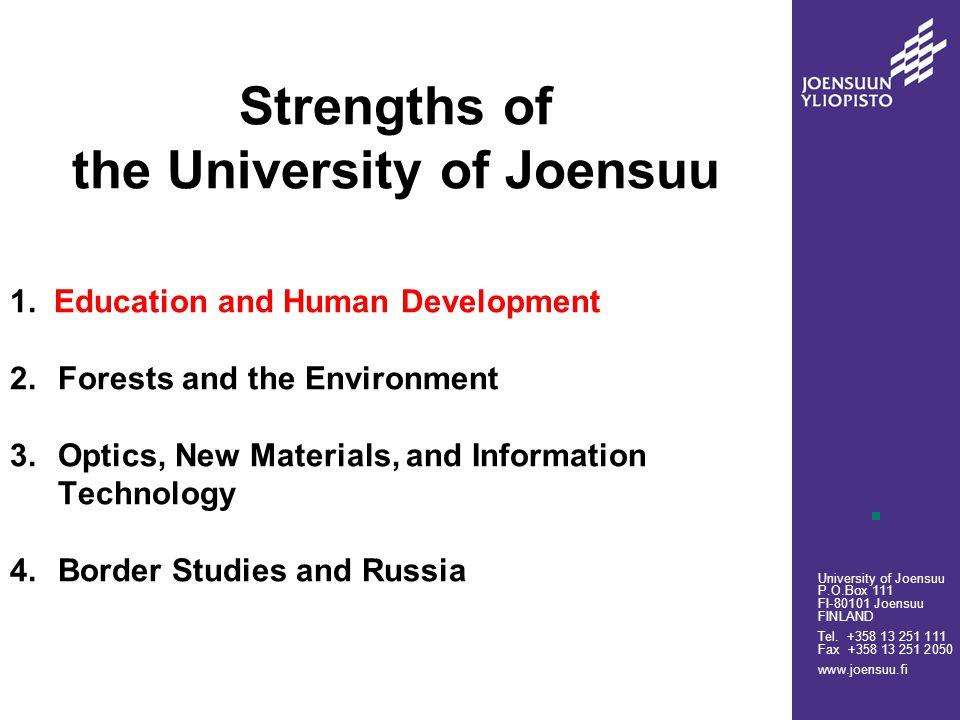 University of Joensuu P.O.Box 111 FI-80101 Joensuu FINLAND Tel.
