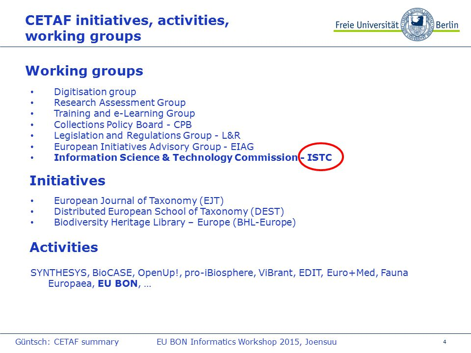 5 Example Informatics infrastructures provided by CETAF institutions – OpenUp.