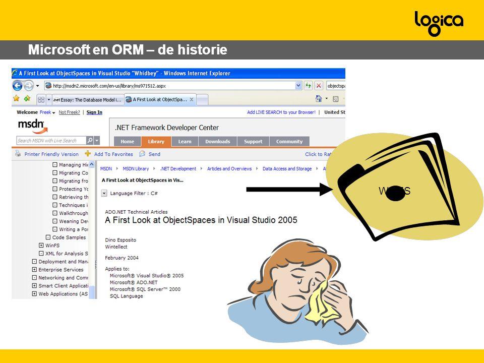 Microsoft en ORM – de historie WinFS