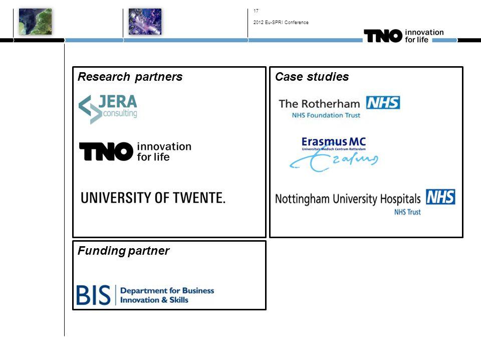 Case studiesResearch partners 17 Funding partner 2012 Eu-SPRI Conference
