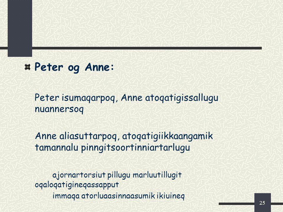 25 Peter og Anne: Peter isumaqarpoq, Anne atoqatigissallugu nuannersoq Anne aliasuttarpoq, atoqatigiikkaangamik tamannalu pinngitsoortinniartarlugu ajornartorsiut pillugu marluutillugit oqaloqatigineqassapput immaqa atorluaasinnaasumik ikiuineq