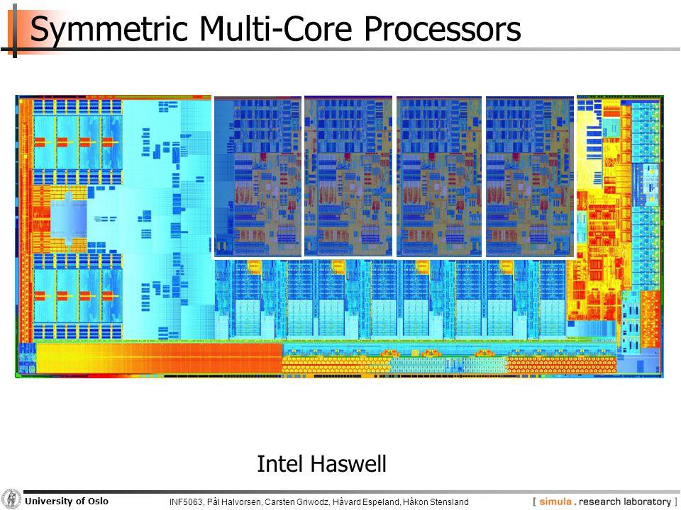 INF5063, Pål Halvorsen, Carsten Griwodz, Håvard Espeland, Håkon Stensland University of Oslo Symmetric Multi-Core Processors Intel Haswell