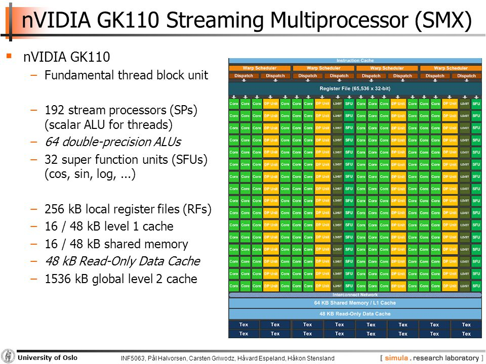 INF5063, Pål Halvorsen, Carsten Griwodz, Håvard Espeland, Håkon Stensland University of Oslo nVIDIA GK110 Streaming Multiprocessor (SMX)  nVIDIA GK110 −Fundamental thread block unit −192 stream processors (SPs) (scalar ALU for threads) −64 double-precision ALUs −32 super function units (SFUs) (cos, sin, log,...) −256 kB local register files (RFs) −16 / 48 kB level 1 cache −16 / 48 kB shared memory −48 kB Read-Only Data Cache −1536 kB global level 2 cache