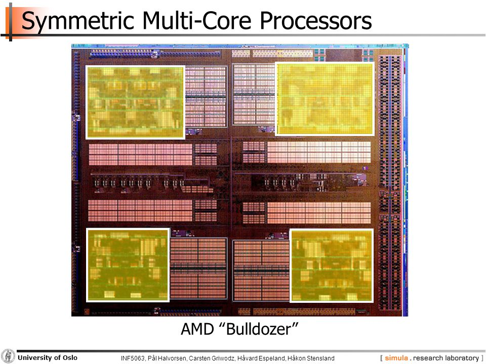 "INF5063, Pål Halvorsen, Carsten Griwodz, Håvard Espeland, Håkon Stensland University of Oslo Symmetric Multi-Core Processors AMD ""Bulldozer"""