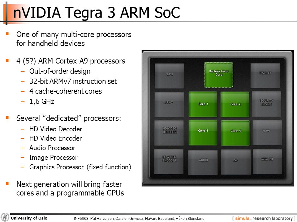 INF5063, Pål Halvorsen, Carsten Griwodz, Håvard Espeland, Håkon Stensland University of Oslo nVIDIA Tegra 3 ARM SoC  One of many multi-core processors for handheld devices  4 (5 ) ARM Cortex-A9 processors −Out-of-order design −32-bit ARMv7 instruction set −4 cache-coherent cores −1,6 GHz  Several dedicated processors: −HD Video Decoder −HD Video Encoder −Audio Processor −Image Processor −Graphics Processor (fixed function)  Next generation will bring faster cores and a programmable GPUs